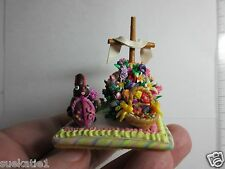 "Mini EASTER Scene Poly Clay 2"" RESURRECTION Cross/Basket/Eggs/Bunny/Peeps OOAK"