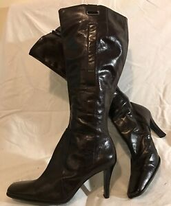 Nine West Dark Brown Knee High Leather Lovely Boots Size 8W(Uk 6) (836vv)