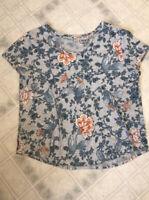 Ann Taylor Loft Gray Blue Floral Print Scoop Neck Cotton Short Sleeve Tee Sz XL