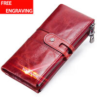 Retro Women Genuine Leather Long Bifold Wallet Credit Card Holder Clutch Purse