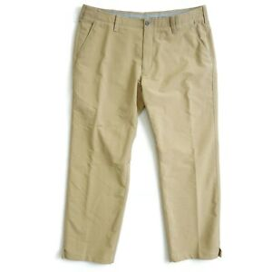 Under Armour Mens UA Match Play Pants Beige Nylon Athletic Golf 40 x 30 1248089
