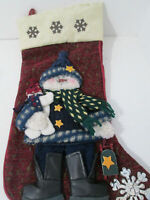 """Snowmen with Sled Stocking 20"""" Christmas Holiday Boots Burgundy"""