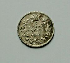1910 CANADA Edward VII Tiny Silver Coin - 5 Cents - scratches & hairlines