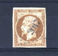 """FRANCE STAMP TIMBRE N° 9 """" LOUIS-NAPOLEON 10c BISTRE 1852 """" OBLITERE A VOIR V148"""