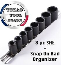 Standard Socket Set 9 pc 3/8 in Drive Impact Wrench SAE Shallow Rail Holder Tool