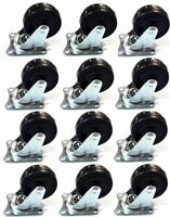 """12 Pack 2"""" Swivel Caster Wheels Rubber Base with Top Plate  Bearing Heavy Duty"""