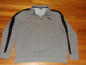 PUMA 1/2 ZIP LONG SLEEVE GRAY/BLACK PULLOVER MENS 2XL EXCELLENT CONDITION
