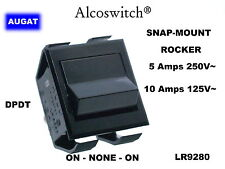 AUGAT alcoswitch snap-mount rocker switch DPDT on-off-on LR9280