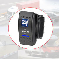 Universal 7Pin WINCH IN OUT ROCKER SWITCH BLUE LED LASER For Truck BOAT CAR RV