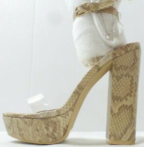 "MACKIN GIRL Womens 6"" Platform High Heel Shoe G186-1, Nude Snake, Size 10, NIB"
