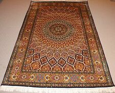Persian Handmade Knotted Silk Rug Carpet ,Antique Vintage Oriental Room Decor
