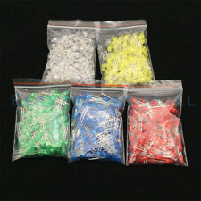 500Pcs 5MM LED Diode 5 Values 5x100PCS Red Green Yellow Blue White Sorted Kits