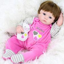 22''Handmade Lifelike Silicone Baby Girl Doll Vinyl Reborn Newborn Sleeping Doll
