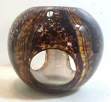Contemporary Spherical Shaped Art Glass Candle Holder With 3 Clear Round Windows