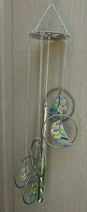 """Sailboat and rings tubular wind chime, stainless steel, multi color, 23"""" long"""