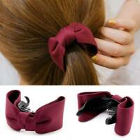 Women Hair Claw Solid Big Bows Banana Hairpins Ties Ponytail Hairband Hair Clips