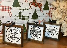 Farmhouse Style Christmas Ornament Mini Sign Holidays Gift Decoration Rustic