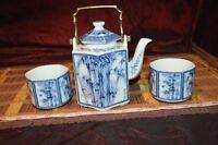 "Asian Porcelain Teapot w/ Brass Handle, Blue & White Bamboo w/ Cups 7""x5 3/8"""