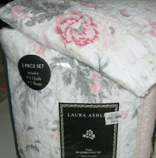 Laura Ashley $180 Twin Quilt Set 2Pc Beautiful Rose Floral pink gray white