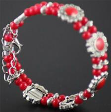 BNWOT Pretty costume bracelet red beads silvertone metal