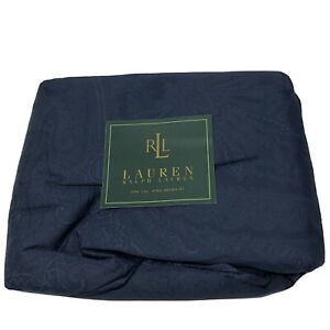 Ralph Lauren Doncaster Paisley Navy King Size Bedskirt 100% Cotton Made In USA