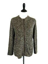 Lulu B Womens Large Brown Green Zip Up Sweater Jacket Cardigan