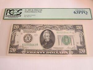 """1928A DALLAS, TX $20 FRN Numeric """"11"""" ~ FR#2051-K ~ PCGS Choice New 63PPQ ~ RARE"""