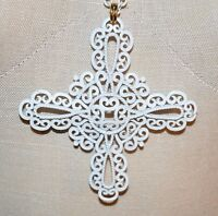 VTG 1950's CROWN TRIFARI White Enamel Maltese Cross Pendant Necklace