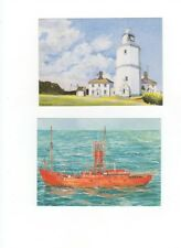 South Goodwin Lightvessel by P Chesterton Art Postcard Kent 916b