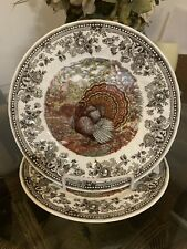 2 QUEEN'S Majestic Beauty Turkey Dinner Plates Made In England
