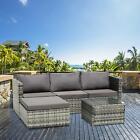 Rattan Garden Furniture 4-seat Corner Lounge Sofa Table Outdoor Patio Mix Grey