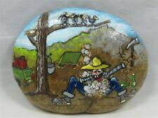 "Painted Rock, ""Breaking Rocks""  Comical Vintage Mining Scene, #kcpr3"