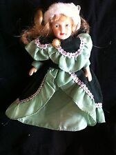 "Porcelain doll,7.5"" with bloomers, fur hat and nice dress. G.Used Con. see pics"