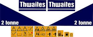 THWAITES 2 TONNE DUMPER DECALS STICKER SET