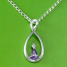 """DIAMOND STERLING SILVER  & AMETHYST PENDANT NECKLACE WITH 18"""" CHAIN & GIFT BOX"""