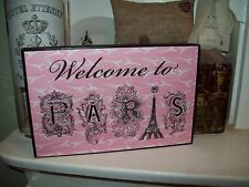Shabby Paris chic decor pink Welcome to Paris sign French cottage wall decor