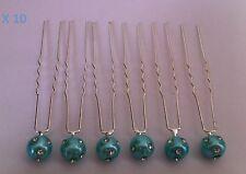10 Epingles pinces cheveux strass bleu turquoise chignon mariage neuf