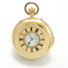 Antique 18K Gold Demi-Hunter Enamel Dent Minute Repeater Pocket Watch CA1890