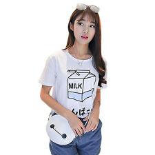 WDS Caso Mujeres japonés Harajuku Loose Leche de manga corta camiseta Tops