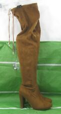 """new ladies TAN 4"""" Block High Heel Over Knee Sexy Boots round toe Size 9"""