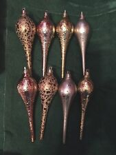 Set 8 Sage & Co. Finial Metallic Drop Teardrop elongated Ornaments Copper gold