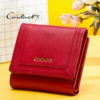 Women's Genuine Leather Cowhide Trifold Wallet Credit Card ID Holder Coin Purse