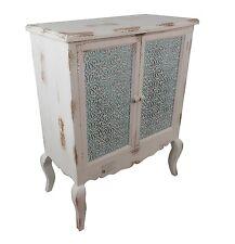 Kommode Schrank 2 Türen Holz Sideboard Shabby Orient 1001 Nacht Weiß Türkis