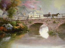 "SALE NEW HOMETOWN Bridge by THOMAS KINKADE (1998 LITHOGRAPH ) 24""x36"" W/COA"