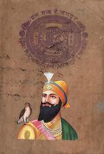 Guru Gobind Singh Sikh Handmade Painting Old Stamp Paper Sikhism Punjabi Artwork
