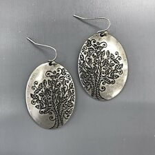 Silver Finished Tree Of Life Design Engraved Oval Shape Drop Dangle Earrings
