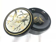 Vintage Set Of 6 Black Lacquer Otagiri Coasters Birds With Case/Box Japan