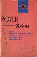 ROVER 3 LITRI certificati di servizio e i programmi di manutenzione 4408 1961 USATO