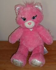 "Build-a-Bear PINK PRINCESS CAT w/Silver sparkle threads 17"" plush"