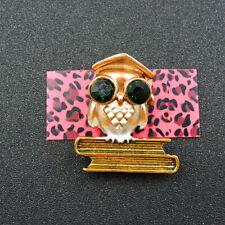 Crystal Charm Animal Brooch Pin Gift New Betsey Johnson Gold Enamel Cute Owl